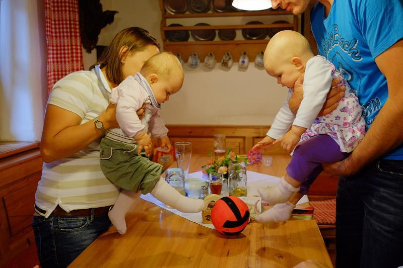 Sophia & Anika playing football