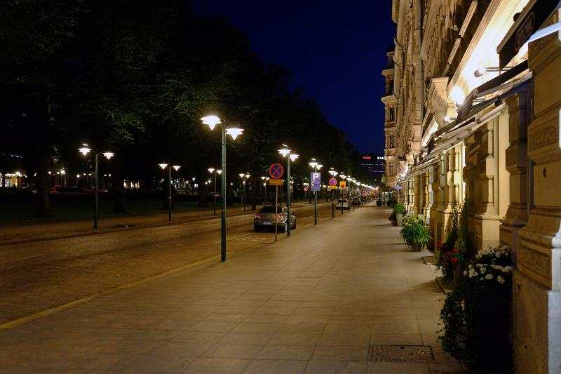 Streets of Helsinki at night
